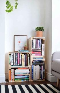 Pinterest boeken kratjes kast