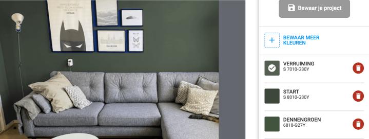 Woonkamer makeover met groene muren. Met de kleur verruiming van Histor.
